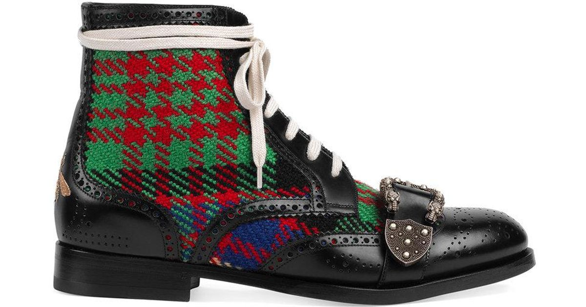 0b0bd7fd5 Gucci Tartan Queercore Brogue Boot in Black for Men - Save 9% - Lyst