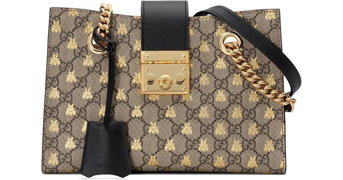 ff5fdd5c0a89 Gucci Padlock Small GG Bees Shoulder Bag - Save 10% - Lyst