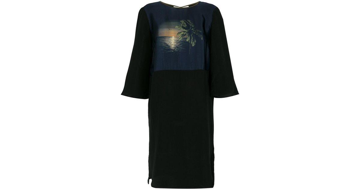 Por do Sol silk dress - Black Osklen PMbjEtS9i