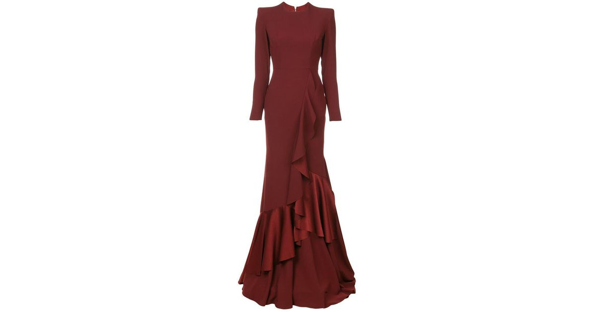 9514352e729 Alex Perry Structured Shoulder Ruffle Dress in Red - Lyst