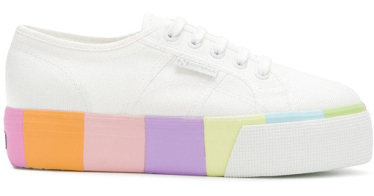 Superga Rainbow Platform Sole Sneakers in White - Lyst