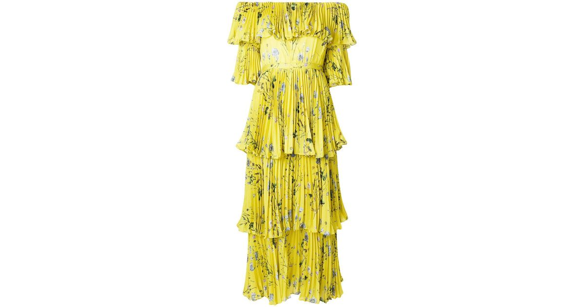 c87ec6797a53 Self-Portrait Off-the-shoulder Floral Tier Pleated Maxi Dress in Yellow -  Save 44% - Lyst
