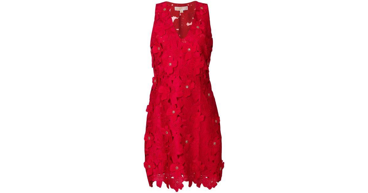 Lyst michael michael kors floral appliqué mini dress in red