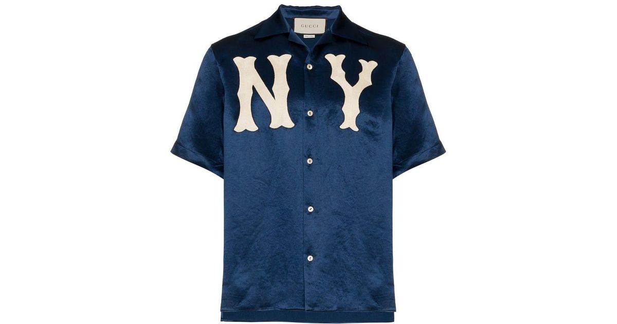 f5bcfc82 Gucci GG Ny Yankees Bowling Shirt in Blue for Men - Lyst