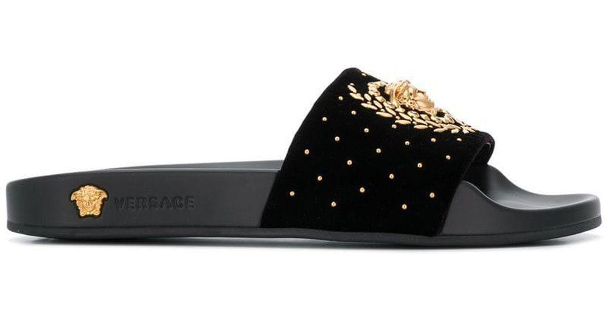 Sandalias Versace Leaves Color Black Medusa De Yfgyb76