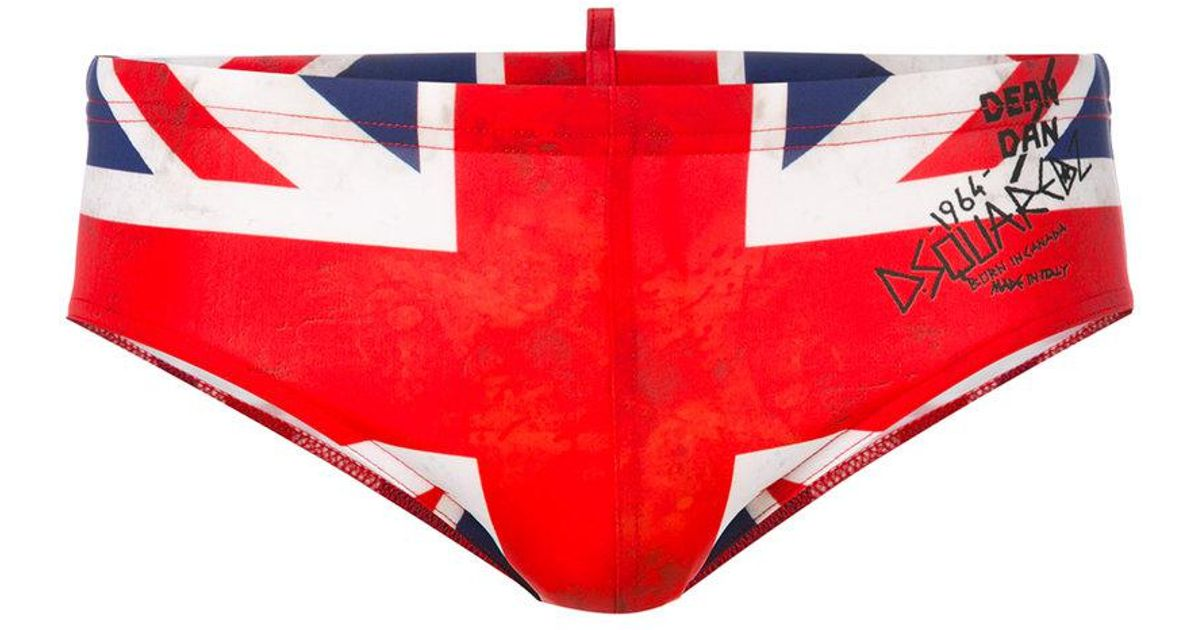 05b357e96d DSquared² Union Jack Swimming Trunks in Red for Men - Lyst