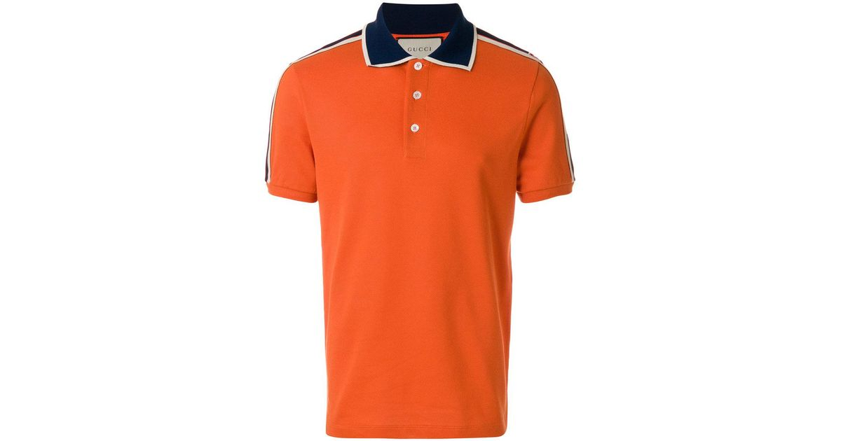 41cb41932 Gucci Stripe Polo Shirt in Orange for Men - Lyst