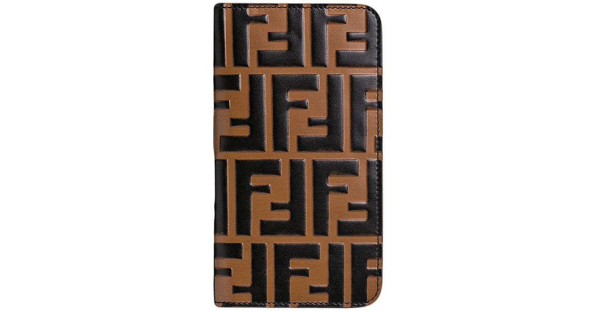 26ed1718c99f Lyst - Fendi Ff Logo Iphone X Case in Brown