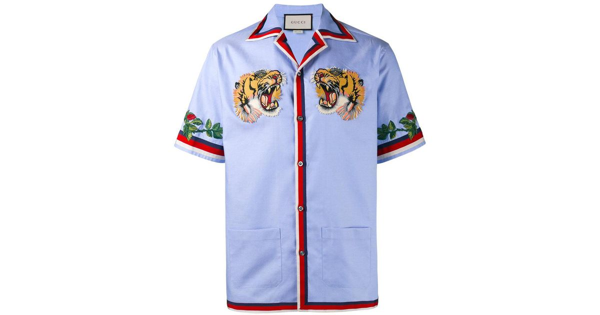 5e0d565ae6d9 Gucci Tiger Embroidered Bowling Shirt in Blue for Men - Lyst