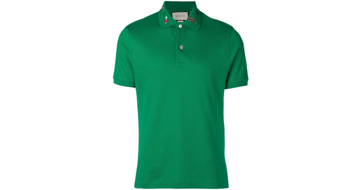 58e544ef Gucci Collar Motifs Polo Shirt in Green for Men - Lyst