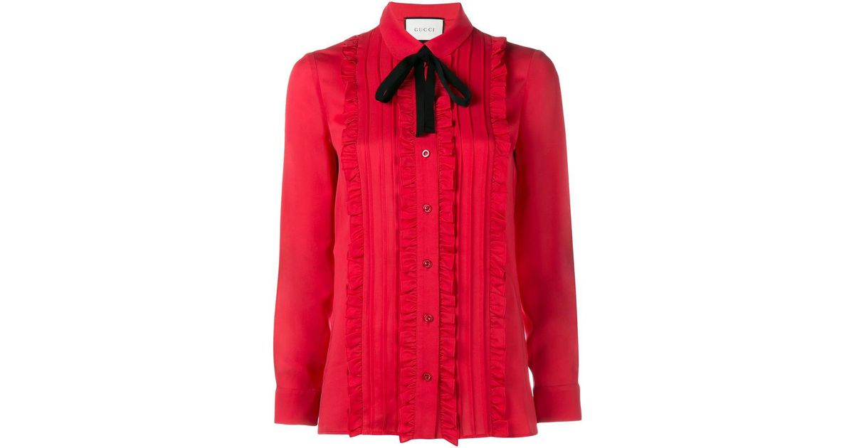 5647b11c4 Gucci Ruffle Front Shirt in Red - Lyst