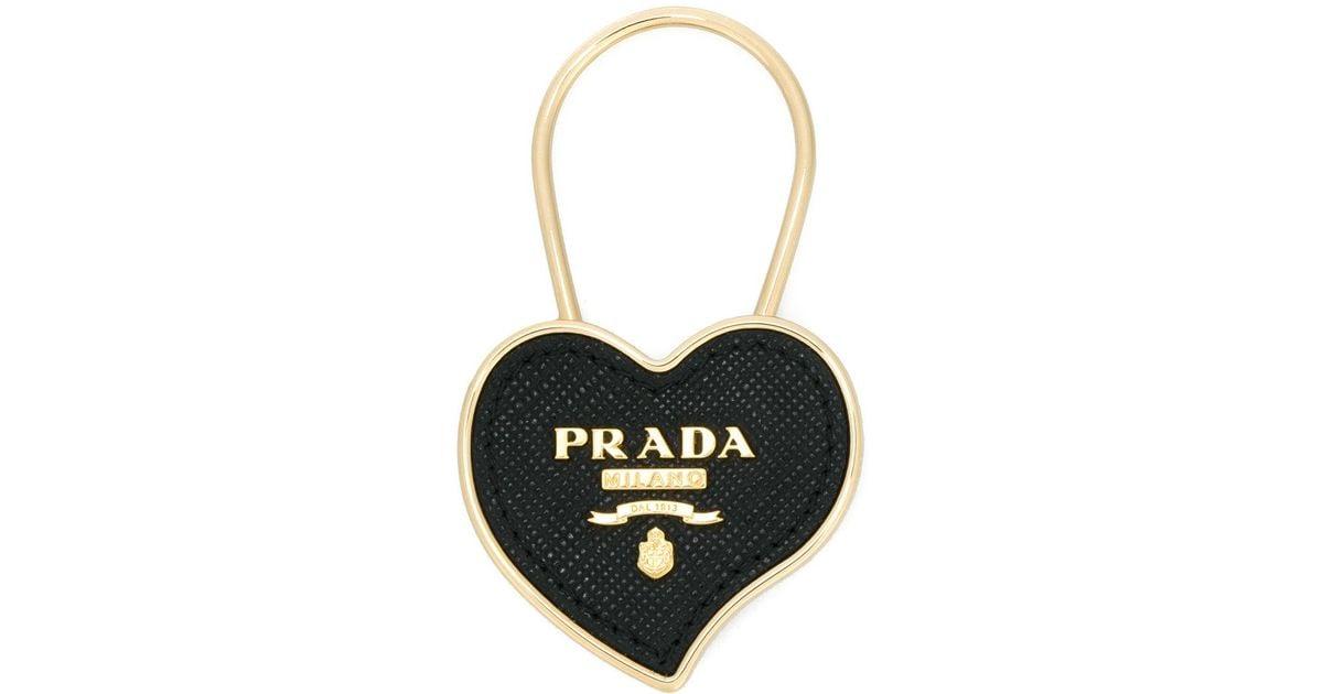 Logo saffiano heart keyring - Black Prada e8XE7r