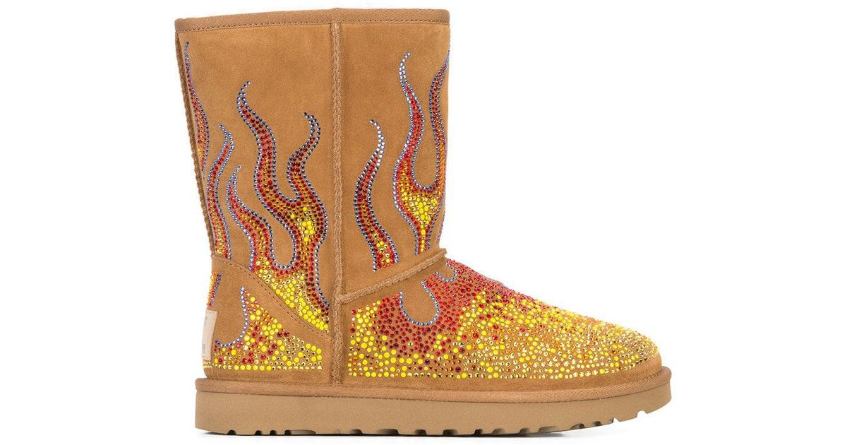 bfe6566f8761 Jeremy Scott Crystal Flame Ankle Boots in Brown - Lyst