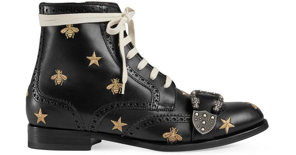 edf28d4f8bb Gucci Queercore Embroidered Brogue Boot in Black for Men - Lyst