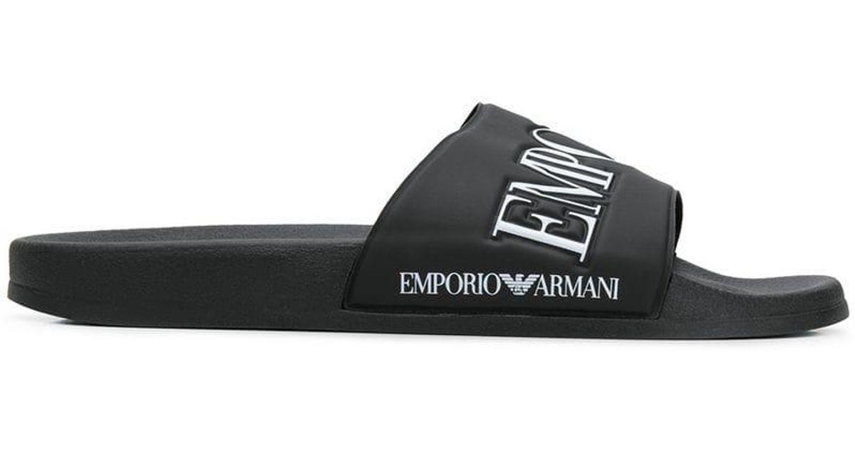 5671e3c5a08 Lyst - Chanclas con logo Emporio Armani de hombre de color Negro