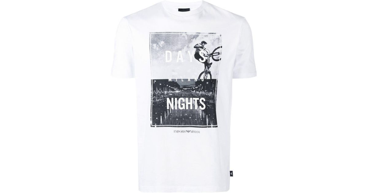 93c5bcfc Emporio Armani Milano Days & Nights Print T-shirt in White for Men - Lyst
