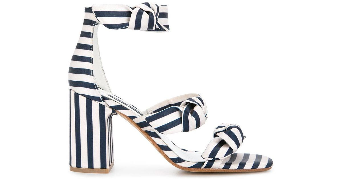 ed763886cc Senso Melvy Ii Triple Strap Heel Sandals - Midnight Stripe Print in Blue -  Save 28% - Lyst
