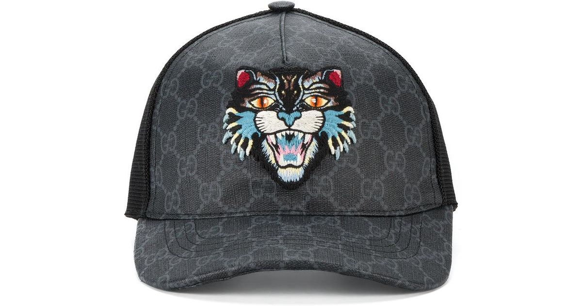 b3a70a88c51 Lyst - Gucci Gg Supreme Angry Cat Baseball Cap in Black for Men