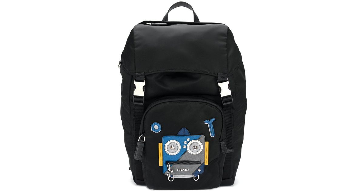 45c024ba1259 ... free shipping lyst prada robot backpack in black for men 288bf ec1a8