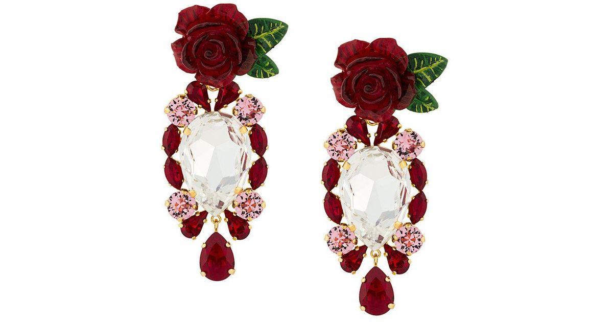 40faff5a59bb Lyst - Pendientes con rosas y cristales colgantes Dolce   Gabbana de color  Rojo