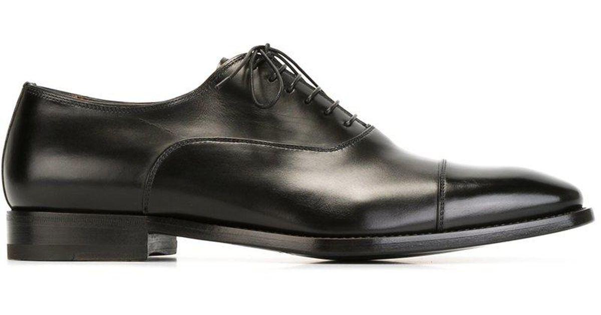 Santoni Black Classic Oxford Shoe For Men Lyst
