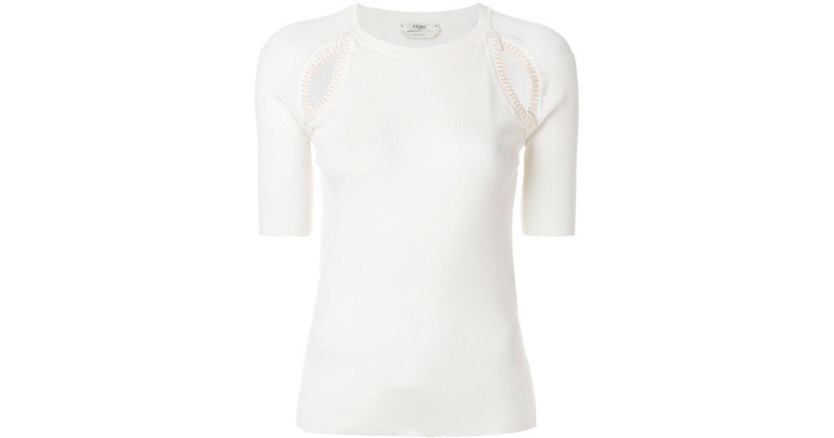 cut-detail T-shirt - White Fendi Clearance Comfortable I19p4zkM