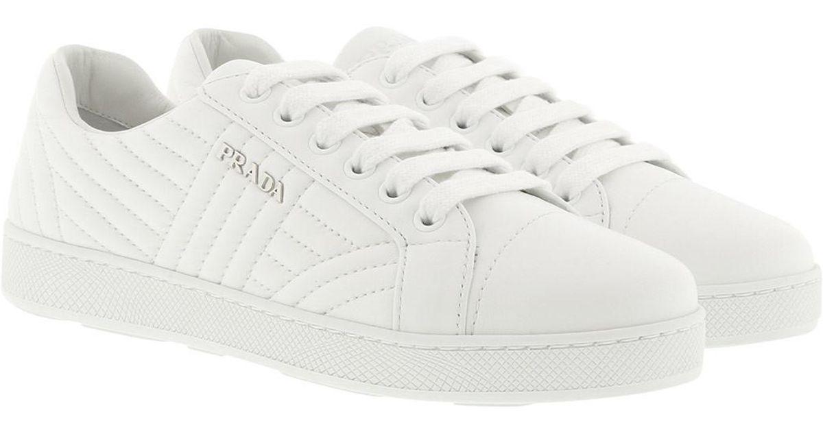 Sneakers - Sneakers Matelassé W Logo Leather White - white - Sneakers for ladies Prada 3E5E5SNSdD