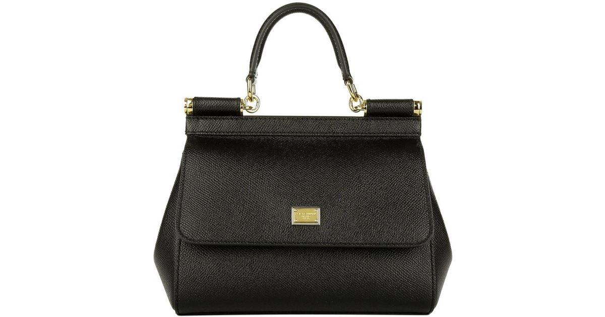Dolce   Gabbana Mini Bag Sicily Vitello Stampa Dauphine Nero - Lyst bec2a9cf57178