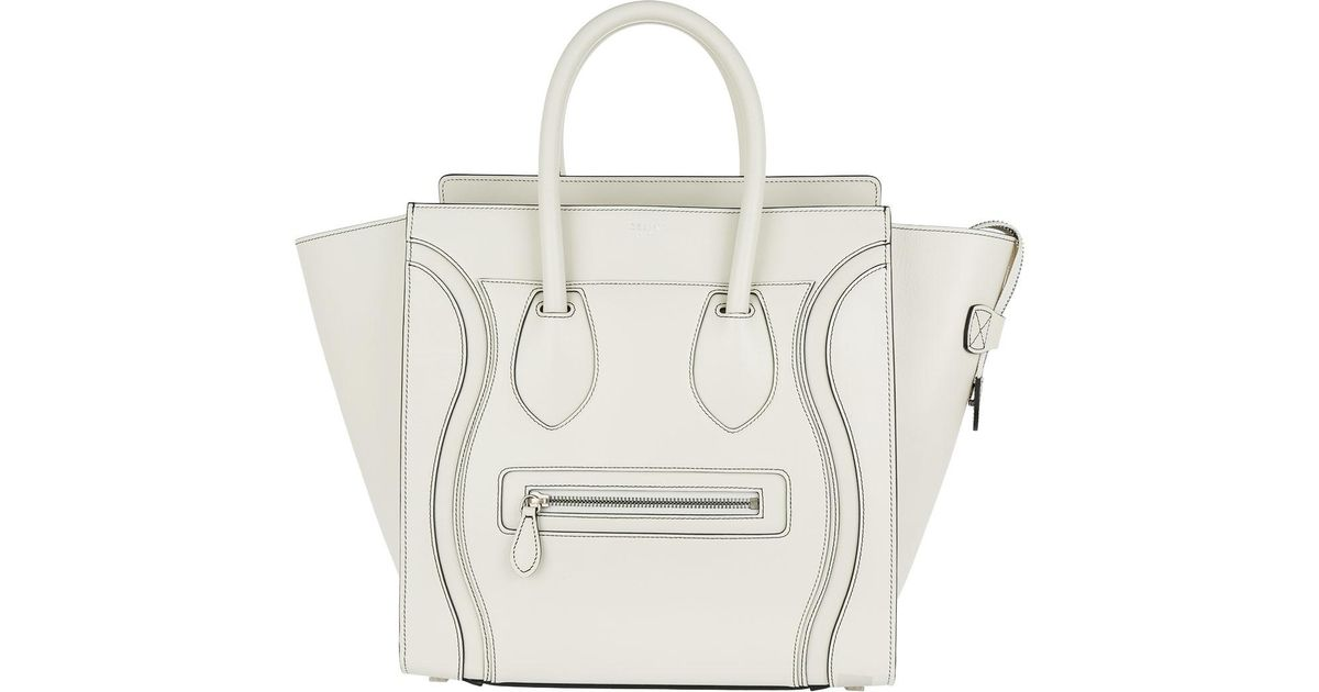 2e82ece6df79 Céline Mini Luggage Tote White Satin in White - Lyst