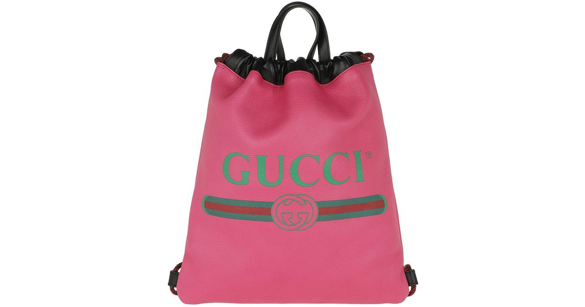 a80f678a6c9f8e Gucci Print Small Drawstring Backpack Pink in Pink - Save 32% - Lyst