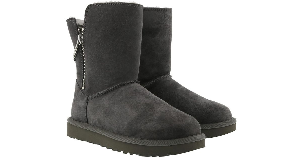 ugg w classic short sparkle zip charcoal in gray lyst rh lyst co uk