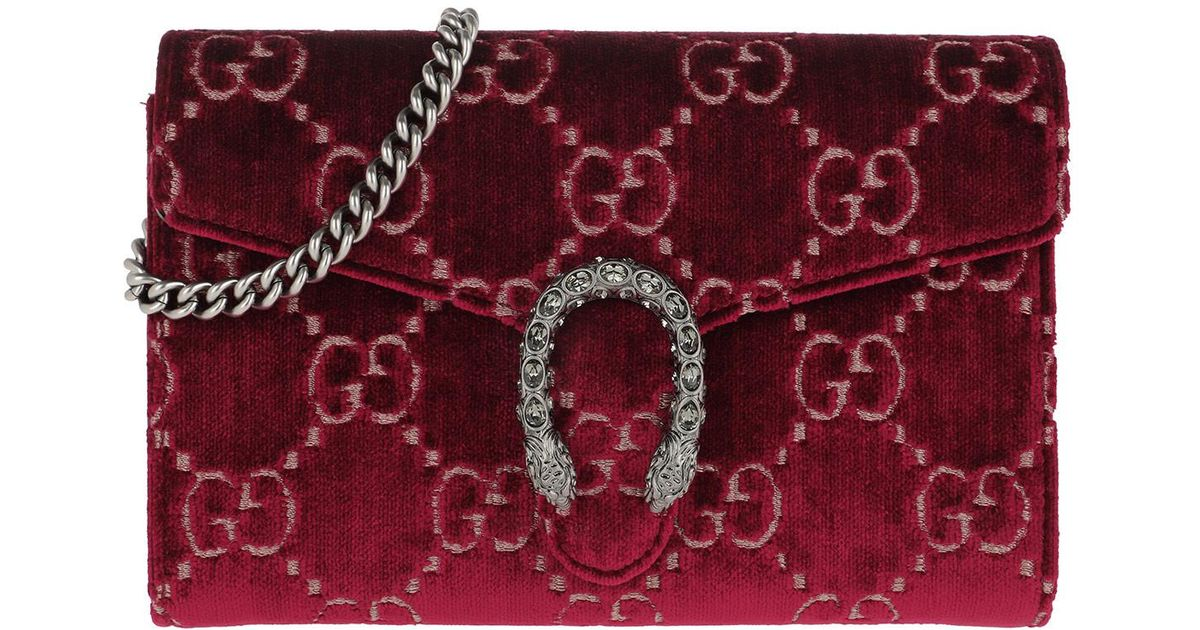 6106114a173 Gucci Dionysus GG Mini Chain Wallet Velvet Red black in Red - Lyst