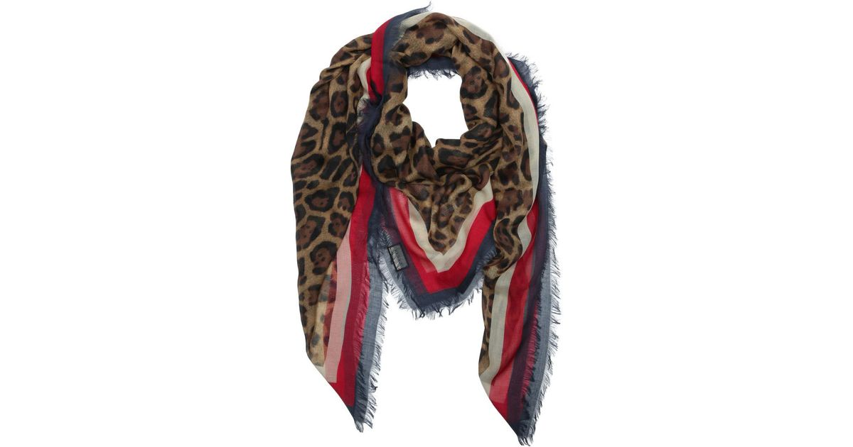 927884d040f0 Gucci Sylvie Leopard Print Modal Silk Shawl Leo + Navy in Red - Lyst