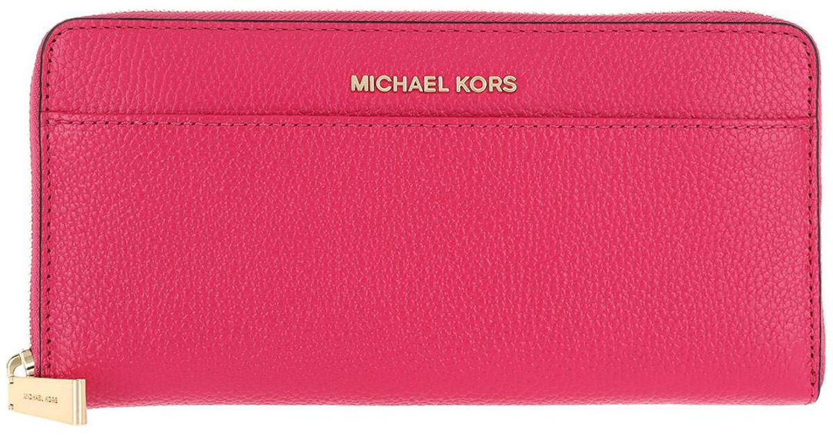 deee8eab53aa6c Michael Kors Pocket Zip Around Continental Wallet Ultra Pink in Pink - Lyst