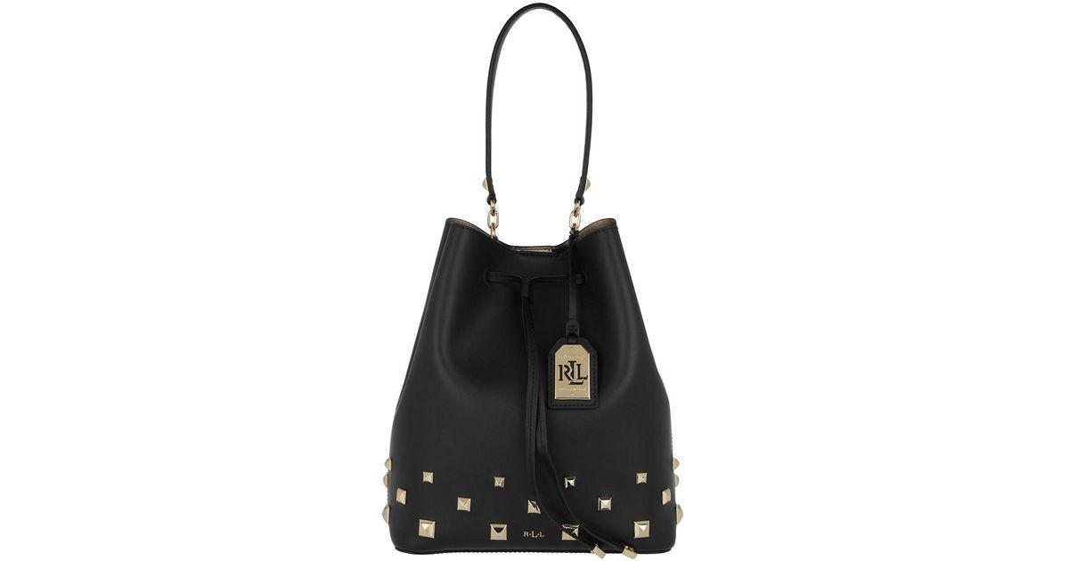 6be5651998f4 Lauren by Ralph Lauren Studded Smooth Debby Drawstring Medium Black gold in  Black - Lyst