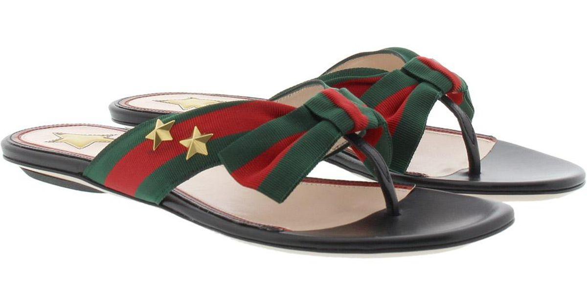 fea532f6c906 Gucci Studded Grosgrain Web Thong Sandal - Lyst