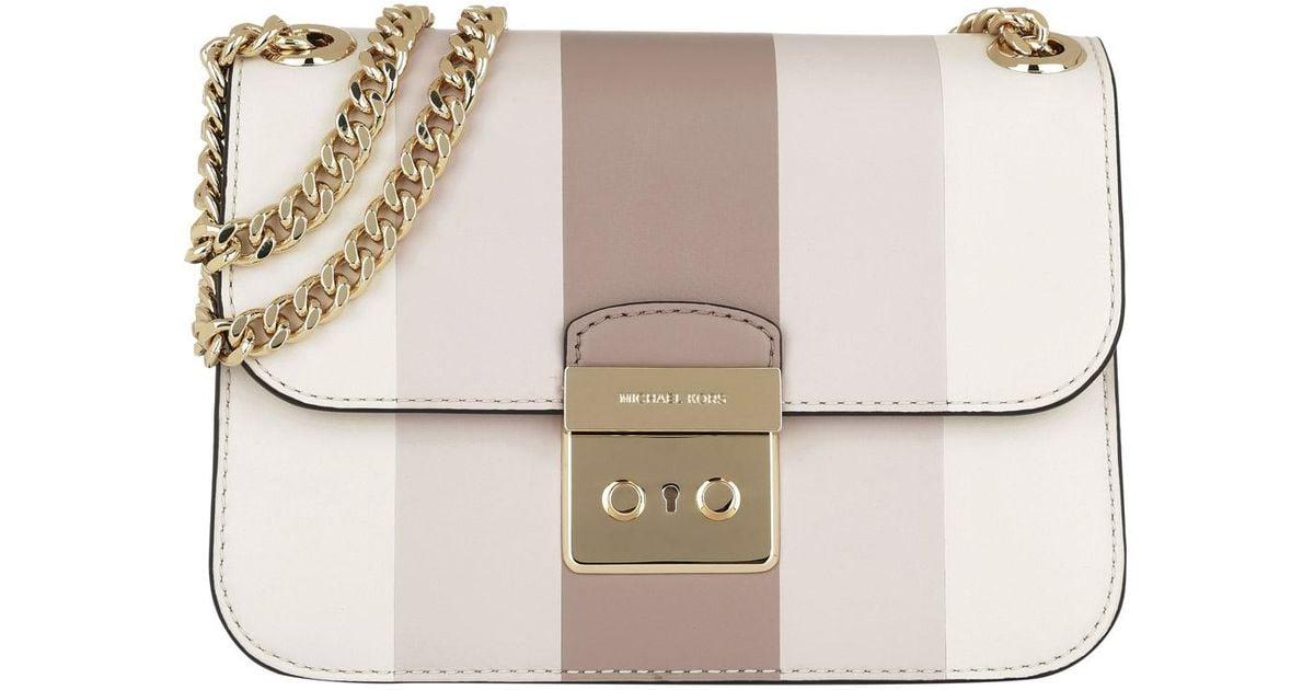 9faa8d687ef4 Michael Kors Sloan Editor Md Chain Shoulder Bag Multi Stripe Ecru fawn soft  Pink in Pink - Lyst
