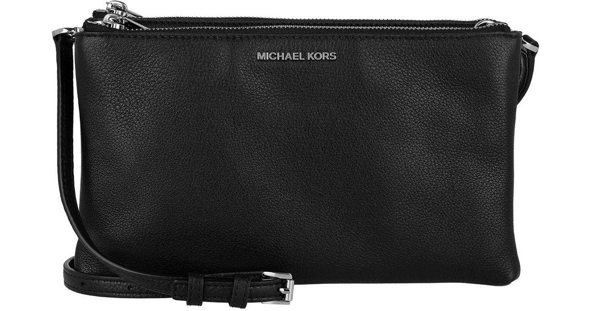 Michael Kors Adele Double Zip Crossbody Leather Black in Black - Lyst 602eb1cdf635c