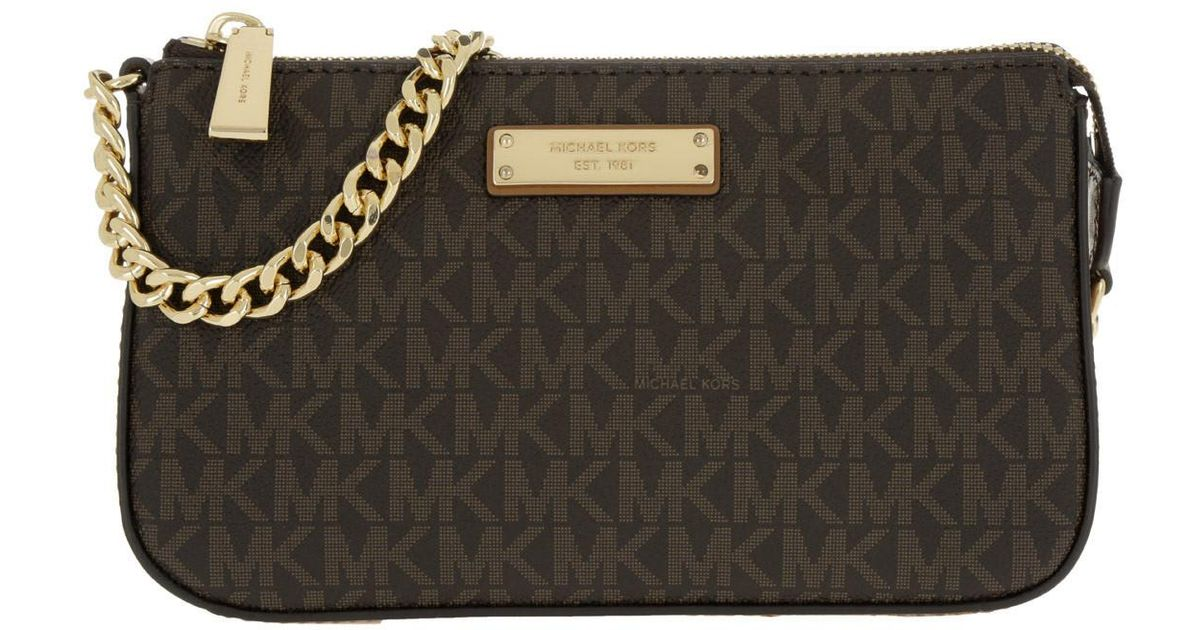 21c63a00ad20 Michael Kors Jet Set Md Chain Pouchette Brown in Brown - Lyst