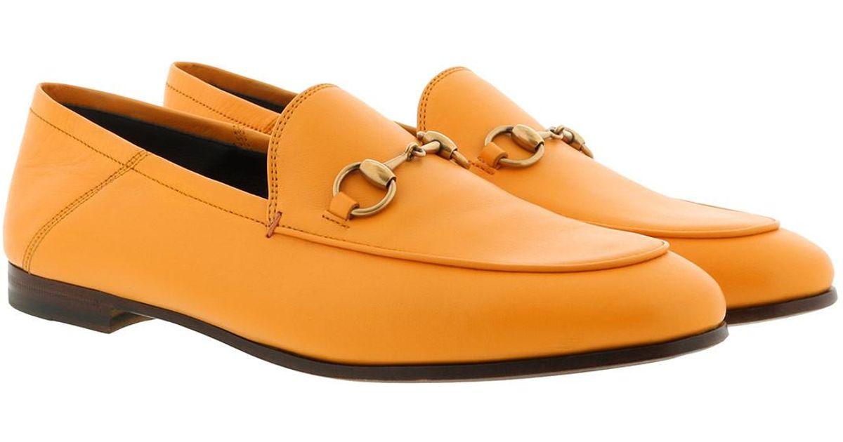 df74695ab15 Gucci Brixton Leather Horsebit Loafers Orange in Orange - Lyst