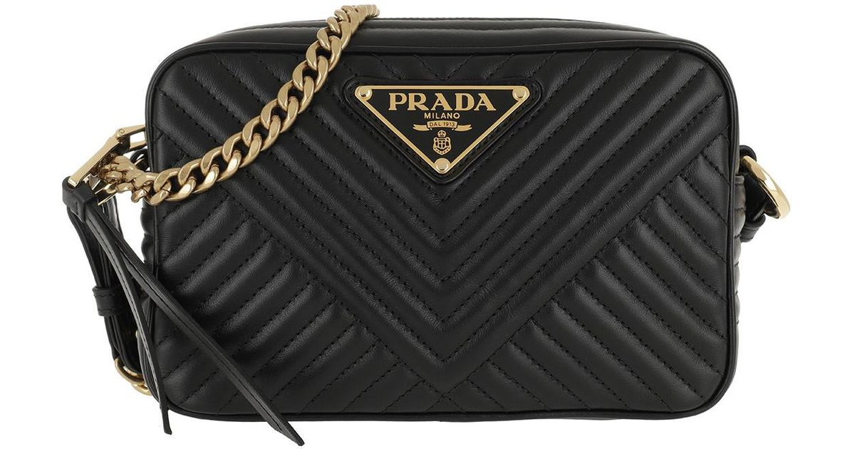 Prada Quilted Chain Shoulder Bag Black gold in Black - Lyst dacc26f979