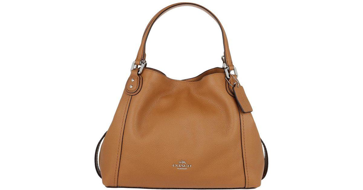 b2d72f79d COACH Edie 28 Pebbled Leather Shoulder Bag Light Saddle in Brown - Lyst