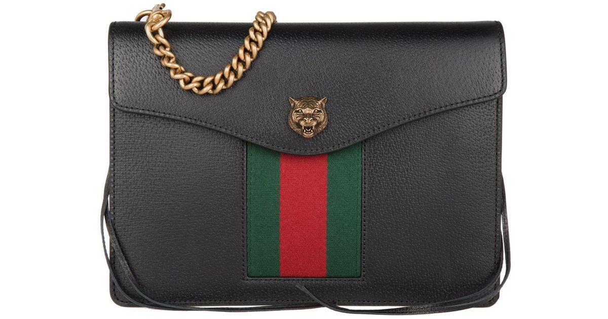 2585e7ffe611 Gucci Lion Leather Crossbody Bag Black in Black - Lyst