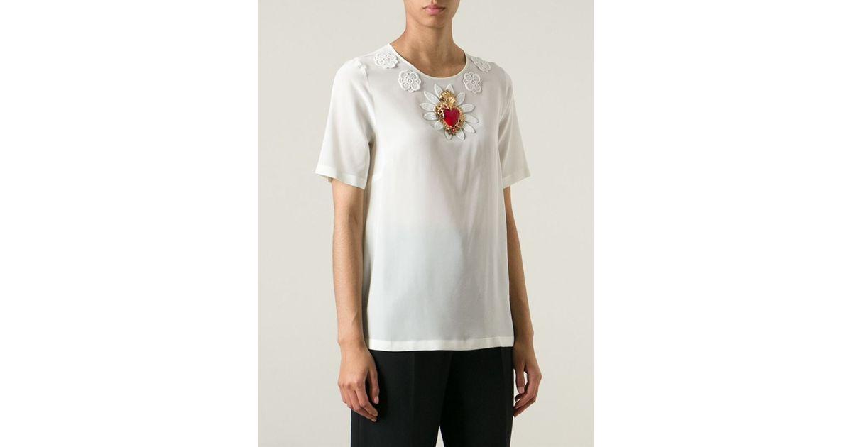 Dolce gabbana sacred heart appliqué t shirt in white lyst