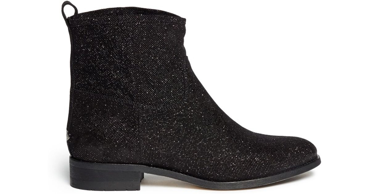 76630f44f227 Lyst - Jimmy Choo  harley  Metallic Leather Ankle Boots in Black