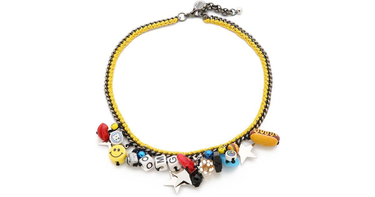 Venessa arizaga mira mikati all star necklace in yellow lyst for Mustard colored costume jewelry