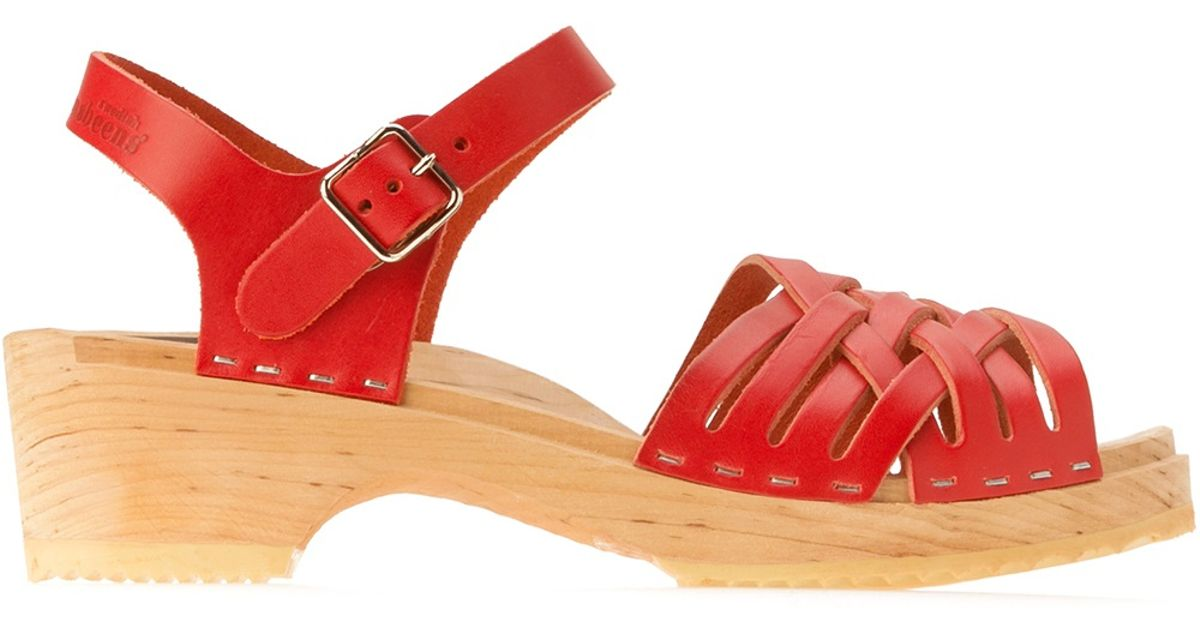 be8799322e54 Swedish Hasbeens Braided Clog Sandal in Red - Lyst