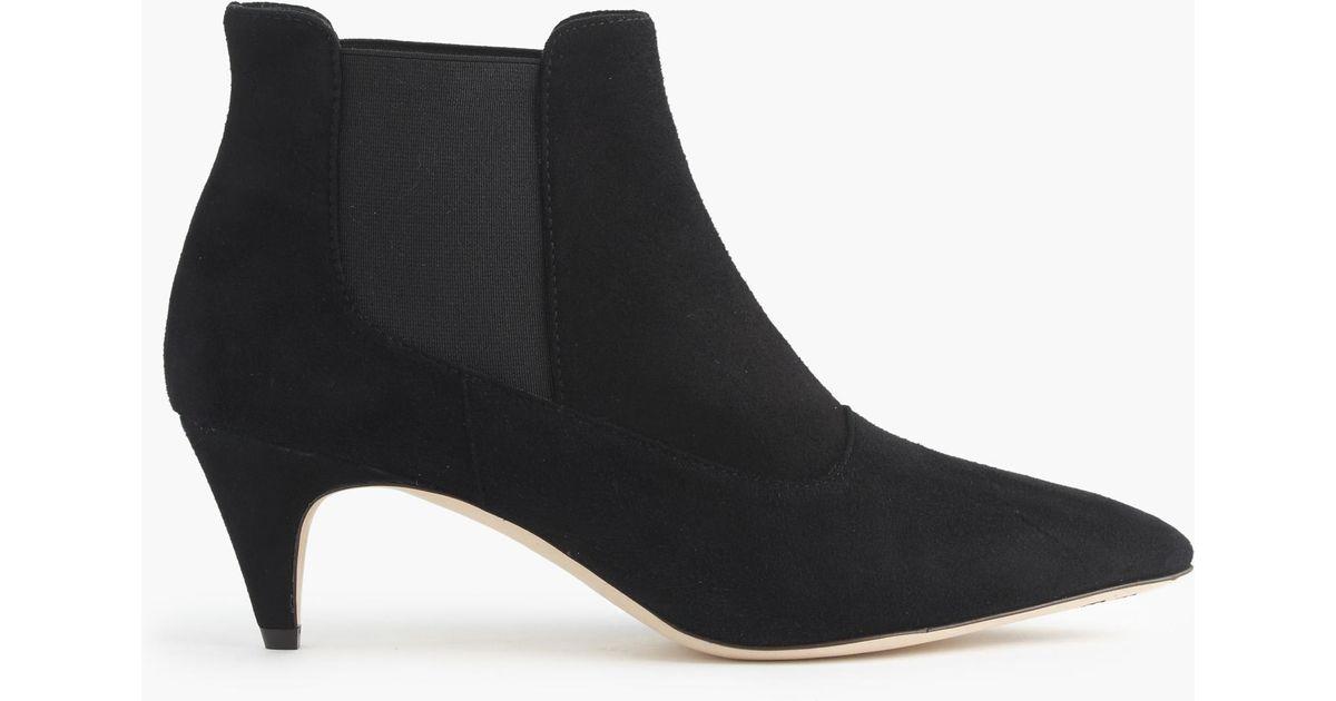 J.crew Suede Kitten-heel Chelsea Boots in Black | Lyst