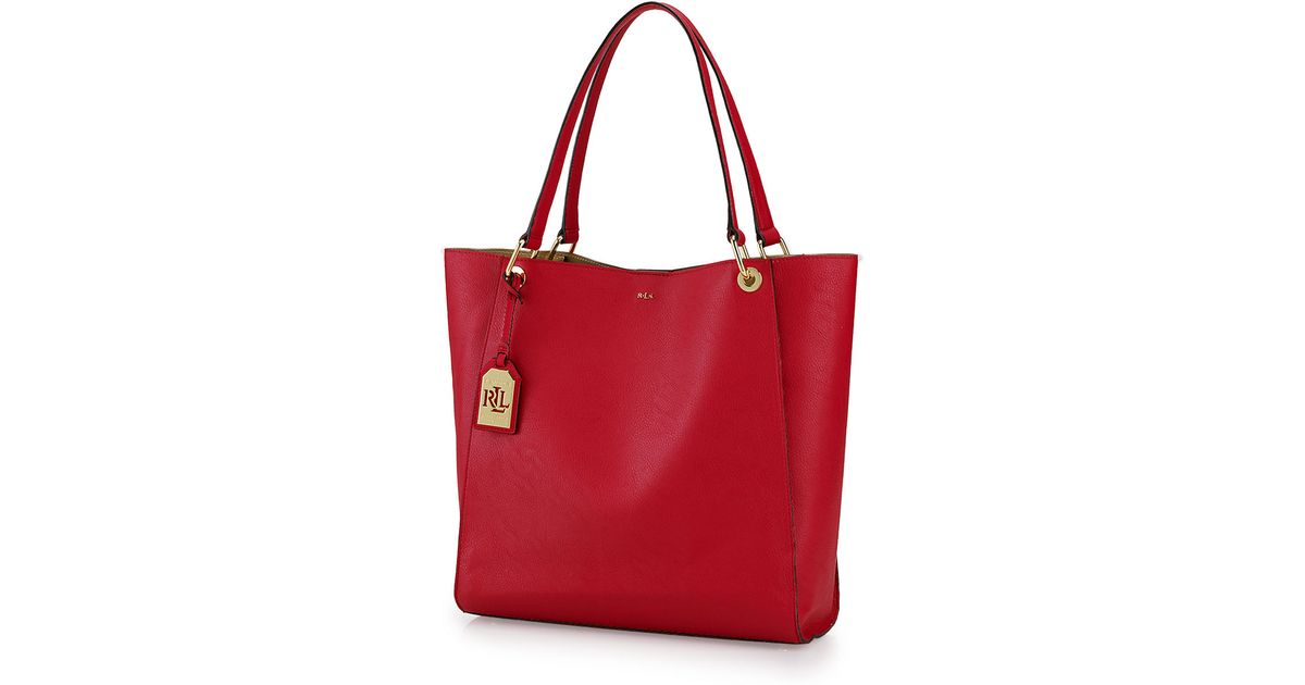 ded048dbb2af cheapest lauren by ralph lauren aiden leather tote bag in red lyst ec5b7  120a2