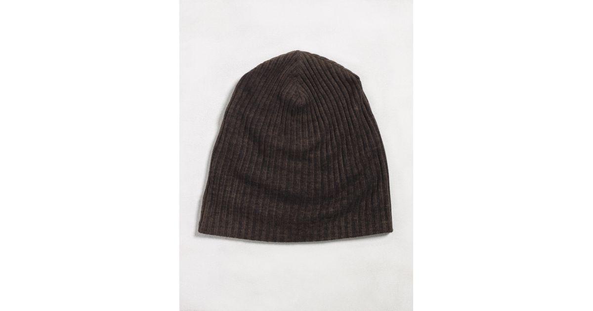 John Varvatos Double Layer Rib Knit Hat in Black for Men - Lyst 317578e5619